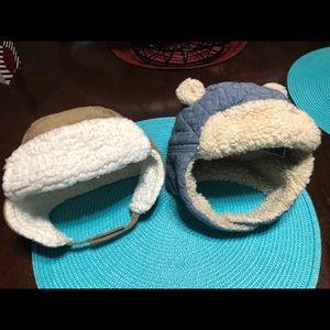 Two super cute winter Sherpa hats 6-12months